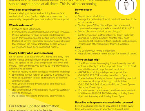 HSE ADVICE ON COCOONING
